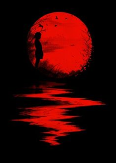 Nicebleed (Francis and Laurence Minoza) illustration - little girl in red sunset Art Rouge, Moon Images, Red Images, Red Pictures, Bing Images, Blood Moon, Blood Art, Red Art, Beautiful Moon