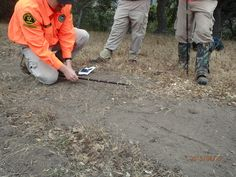 Using a tracking stick with markings, SAR members can track the footprints, pace and direction of a missing or lost person