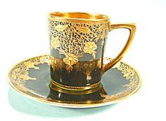 Rare Black Nippon Demitasse Cup and Saucer Raised Gold