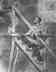 Władysław Podkowiński - Self-portrait Art And Illustration, Illustrations, French Impressionist Painters, Art Inspo, My Arts, Portrait, Painting, Poland, Artists