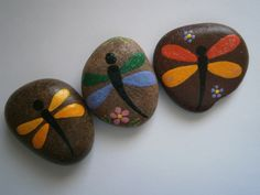 Dragonflies Painted Rocks. Visit www.PlaceForYou.Etsy.com.