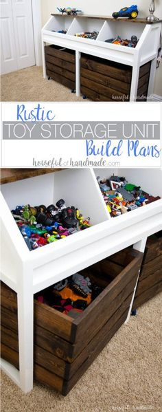 I love this grown-up take on a toy box! Create a console table to organize all the toys. This rustic toy storage unit has large open bins and rolling carts for lots of toy storage. Get the free build plans.   Housefulofhandmade.com