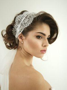 Lace tulle wedding headband lace wedding by HoneyPieBridal on Etsy