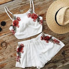 Cheap two set, Buy Quality top shorts directly from China women set short Suppliers: Summer Women's Short Jumpsuit Sexy Embroidery Spaghetti Strap Beach Set For Two Pieces Ensemble Femme Crop tops Shorts Tracksuit Mode Outfits, Casual Outfits, Fashion Outfits, Womens Fashion, Fashion Shorts, Tween Fashion, Style Fashion, Fashion Ideas, Fashion Clothes