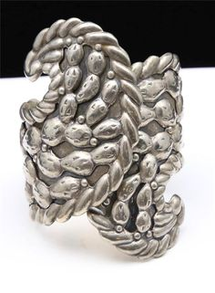 Vintage+Taxco+Sterling+Silver+Clamper+Bracelet+Cuff+Cactus+Wave+Swirl+Signed+#HandmadeArtisan