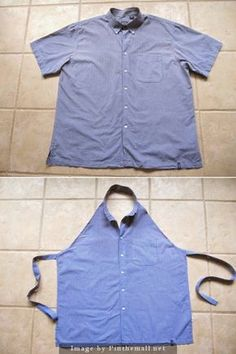 Apron Upcycled from a Man's Button-Down Shirt Sewing Tutorial | Sew Many Ways