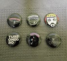6 x TURBONEGRO band buttons, badges, pins (size: 1', 25mm) by amphetaminesmall on Etsy