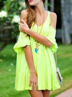 Neon Green Off The Shoulder Butterfly Sleeve Shift Dress