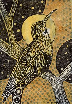 "The Oracle by Lynnette Shelley ORIGINAL SOLD 2011 Another in my new ""mini"" series. Please visit www.lynnetteshelley.com to view all of my artwork and artwork sales. 6 × 9″ black and gold ink, tea, gouache on cold-press Strathmore watercolor paper In many mythologies, birds were seen as omens and messengers of the gods."