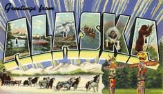 1940s Large Letter Greetings from  Alaska State Vintage Postcard