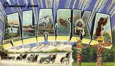 1940s Large Letter Greetings from  Alaska State Vintage Postcard