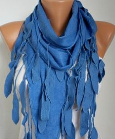 Blue Scarf   Spring Scarf  Pashmina  Scarf   by fatwoman,