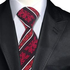 Mens Ties Red Novelty Neck Tie 100% Silk Jacquard Ties For Men Business Wedding Party