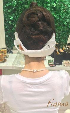 リボンボンネのノーブルアップヘア♡ハワイ挙式リハ篇 |大人可愛いブライダルヘアメイク『tiamo』の結婚カタログ