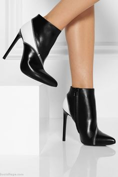SAINT LAURENT Two-tone leather ankle boots - Women Boots And Booties