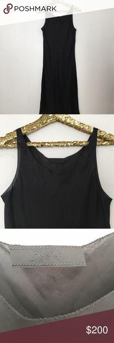 PRADA SILK BLACK SLIP DRESS SIZE 6 Size 42 US. Size 6 black silk slip dress Prada Dresses