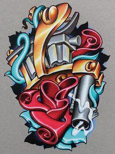Cool New School Tattoo Flash of a sweet tattoo machine - where's the needle tho lol