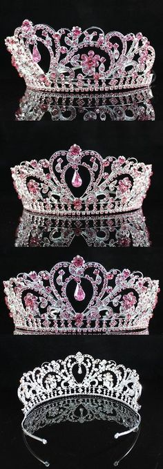 Hair and Head Jewelry 110620: A89193 Pink Austrian Rhinestone Crystal Tiara Crown Bridal Prom Pageant Party BUY IT NOW ONLY: $38.99