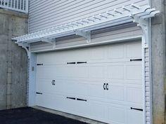 This white garage doors is genuinely a remarkable design procedure. Garage Trellis, Garage Pergola, Backyard Gazebo, Steel Pergola, Garage Door Makeover, Exterior Makeover, Garage House, House Front, White Garage Doors