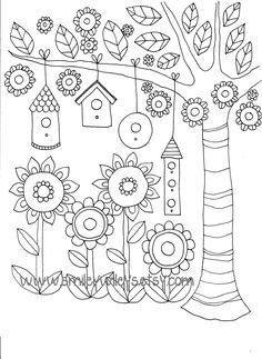 Happy Garden Printable Colouring Book Pages Set of от smileywileys