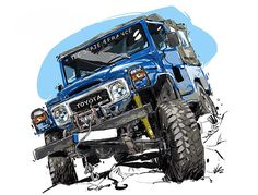 Simply email your car pictures in correct position to me. *Important is angle of car, NOT the location. I will draw it in any location you want. Toyota Fj40, Toyota Cars, Fj Cruiser, Toyota Land Cruiser, Cool Car Stickers, Car Illustration, Technical Illustration, Mens Toys, Car Posters