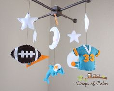 Baby Crib Mobile Baby Mobile Football by dropsofcolorshop