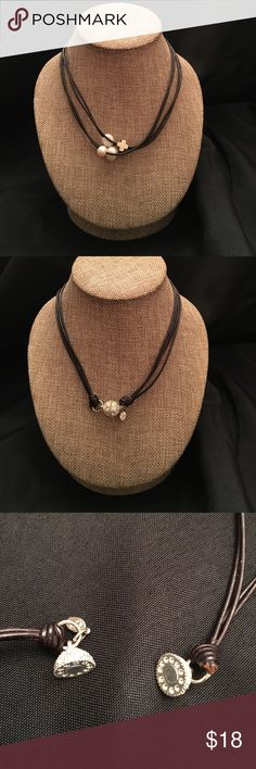 """17"""" Leather and Pearls Christian Bling 17"""" Leather Necklace with Pearls and Silver Cross with magnetic bling clasp Christian Bling Jewelry Necklaces"""