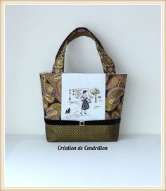 Collection Chic SAC/CABAS  brodé  «La dame au petit chien» Broderie Point de croix fait main Véronique Enginger  : Sacs à main par creations-de-cendrillon