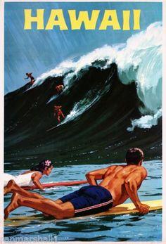 1950s-Hawaii-Hawaiian-Island-Surfing-Vintage-U-S-Travel-Advertisement-Poster