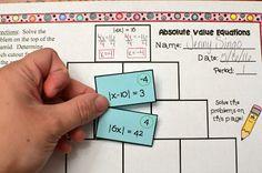 absolute value equations, absolute value equations activity, absolute value equations worksheet, absolute value Algebra Activities, Maths Algebra, Math Test, Co Teaching, Teaching Quotes, Teaching Tools, Teaching Ideas, Math Classroom, Classroom Tools