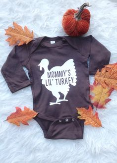 Toddler Thanksgiving/ Gobble onesie/ Long sleeve onesie/ Mommy's Little Turkey…