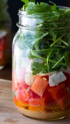 Watermelon, Feta and Arugula Mason Jar Salads | sweetpeasandsaffron.com @sweetpeasaffron