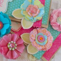 Uses dies from Papertrey Ink (Beautiful Blooms II #2 die) - can use fabric, felt, tissue paper, crepe paper...