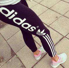 Adidas leggings and some gray/pink Nikes.