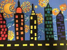 grade Starry Night cityscapes Inspired by the awesome art teacher , grade will be creating these beauties next week in art! Preschool Art Projects, Classroom Art Projects, Art Classroom, 3rd Grade Art Lesson, Third Grade Art, Kindergarten Architecture, Landscape Art Lessons, Starry Night Art, Cityscape Art