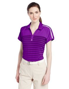 adidas Golf Womens Puremotion Tour Climacool Polo Vivid PurpleWhite Large >>> Read more  at the image link.