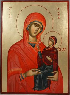 High quality hand-painted Orthodox icon of St Anna Holy Mother of Mary. BlessedMart offers Religious icons in old Byzantine, Greek, Russian and Catholic style. Saint A, Paint Icon, Byzantine Icons, Madonna And Child, Orthodox Icons, Tempera, Beautiful Hands, Ikon, Holi