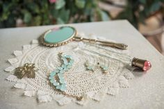 vintage aqua + gold jewelry // photo by Studio Finch // View more: http://ruffledblog.com/crochet-and-aqua-inspiration/