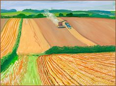 David Hockney - Harvesting Near The Road to Thwing, 2006 Oil on canvas 36in x…