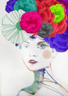 Fashion Illustration Print   FLOWER II by studiodelafosse on Etsy, €15.00