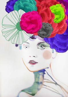 Fashion Illustration Print   FLOWER II by studiodelafosse on Etsy, €15.00