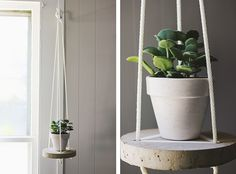 DIY Round Hanging Cement Table - The Merrythought Cement Table, Diy Concrete Planters, Diy Hanging, Hanging Plants, Hanging Table, Indoor Plants, Industrial Style Desk, Industrial Farmhouse, Concrete Candle Holders