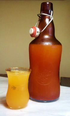 Orange Ginger Beet Kvass made with golden beets.