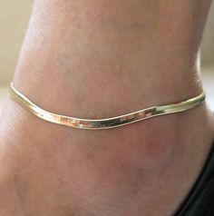 """10"""" Gold GP 2mm Flexible Herringbone adjustable Ankle leg Bracelet Anklet, gold anklet, charm anklet, adjustable Anklet on Etsy, £6.32"""