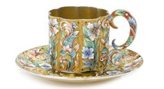 A Russian Gilded Silver and Shaded Enamel Cup and Saucer, Moscow, circa 1910 - Sotheby's