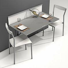 Mesa plegable con repisa modelo Wall para cocina. Es ideal para cocinas estrechas.