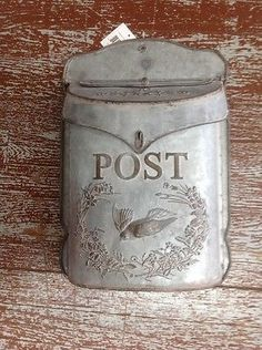 Shabby Chic Vintage BIRD MAILBOX Letter Post Mail Holder Wall Mount French Metal