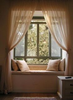 Window seat, I want on so bad. I may have one built in when we add our master be. Window seat, I want on so bad. I may have one built in when we add our master bedroom suit to the h Window Seat Curtains, Window Seats Bedroom, Bay Window Seating, Bedroom Seating, Blinds Curtains, Bedroom Curtains, Bay Window Decor, Window Lights, Sheer Curtains