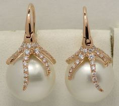 SOUTH SEAS PEARL AND DIAMOND EARRINGS 18K PINK GOLD