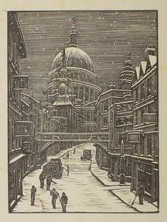 Wood engraving by Gwen Raverat of Ludgate Hill. 'London snow' 1939